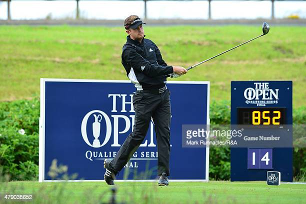 Garrick Porteous of England in action during the final qualifying for the Open Championship at Gailes Links Golf Course on June 30 2015 in Irvine...