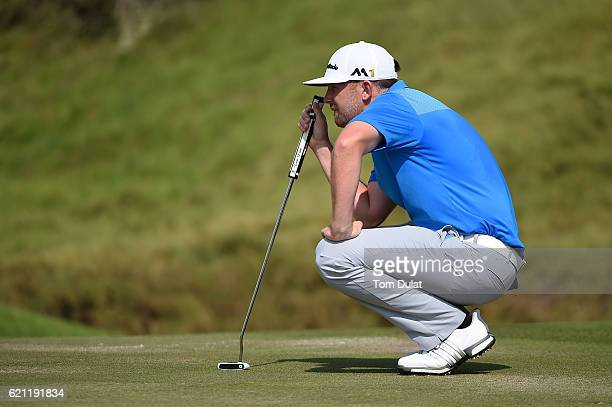 Garrick Porteous of England lines up a putt during day four of the NBO Golf Classic Grand Final at Al Mouj Golf on November 5 2016 in Muscat Oman
