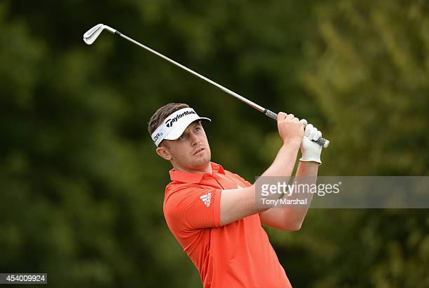 Garrick Porteous of England plays his first shot on the 3rd tee during day three of DD REAL Czech Masters at Albatross Golf Resort on August 23 2014...