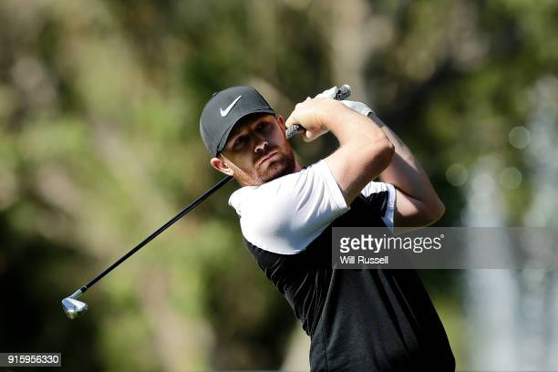 Garrick Porteous of England takes his tee shot on the 11th hole during day two of the World Super 6 at Lake Karrinyup Country Club on February 9 2018...