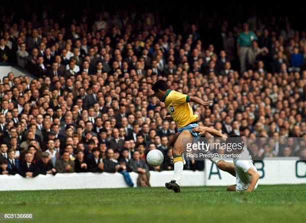 Garrincha of Brazil evades a Bulgarian defender during the FIFA World Cup match between Brazil and Bulgaria at Goodison Park in Liverpool 12th July...