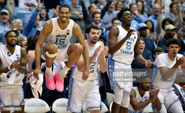 Garrison Brooks and the North Carolina Tar Heels celebrtate during the second half of their game against the Virginia Tech Hokies at the Dean Smith...