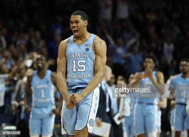 Garrison Brooks of the North Carolina Tar Heels celebrates against Duke Blue Devils during the semifinals of the ACC Men's Basketball Tournament at...
