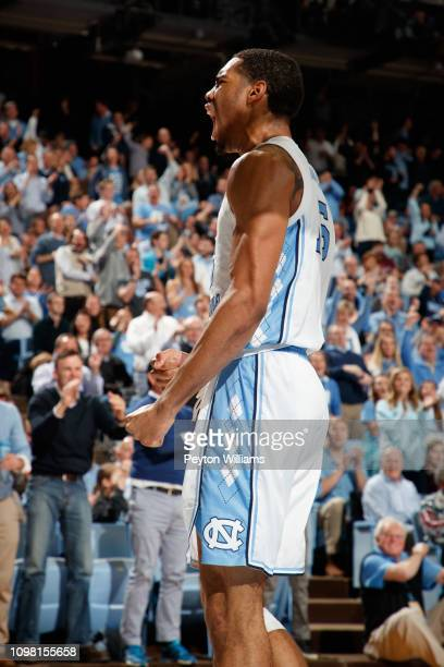 Garrison Brooks of the North Carolina Tar Heels celebrates during a game against the Virginia Tech Hokies on January 21 2019 at the Dean Smith Center...