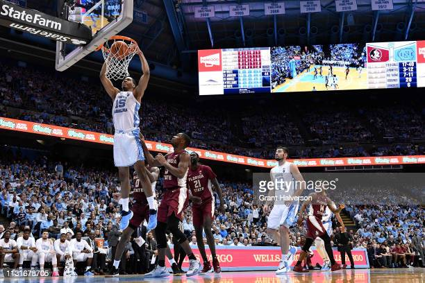 Garrison Brooks of the North Carolina Tar Heels dunks against the Florida State Seminoles during the second half of their game at the Dean Smith...