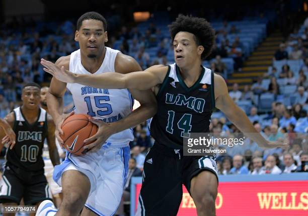 Garrison Brooks of the North Carolina Tar Heels during their game against the Mount Olive Trojans at the Dean Smith Center on November 2 2018 in...