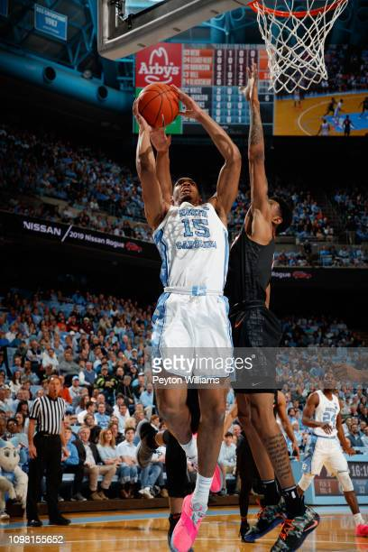 Garrison Brooks of the North Carolina Tar Heels goes to the basket during a game against the Virginia Tech Hokies on January 21 2019 at the Dean...