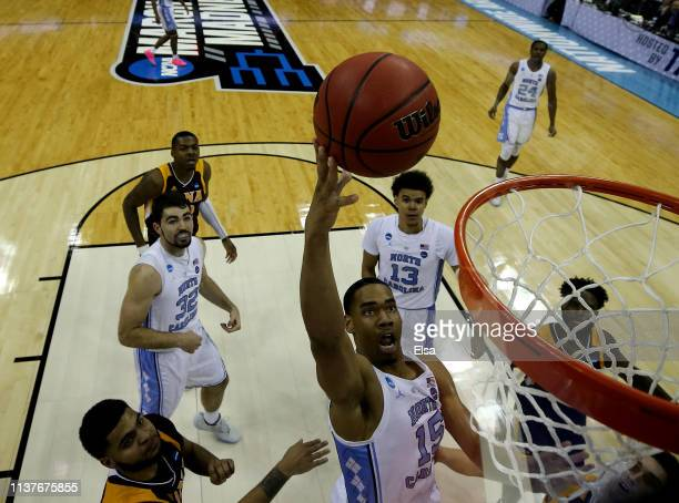 Garrison Brooks of the North Carolina Tar Heels heads for the net in the second half against the Iona Gaels at Nationwide Arena on March 22 2019 in...