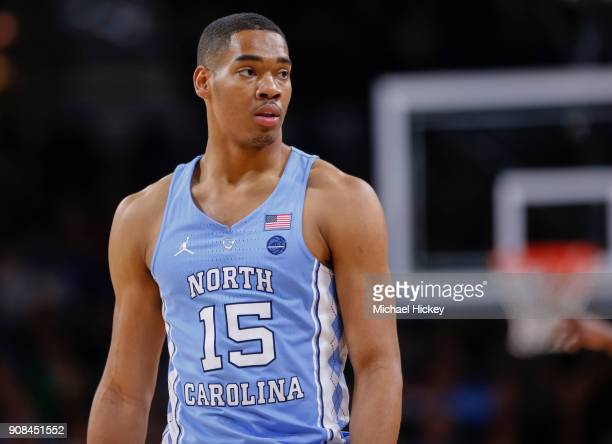 Garrison Brooks of the North Carolina Tar Heels is seen during the game against the Notre Dame Fighting Irish at Purcell Pavilion on January 13 2018...