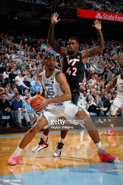 Garrison Brooks of the North Carolina Tar Heels pivots during a game against the Virginia Tech Hokies on January 21 2019 at the Dean Smith Center in...