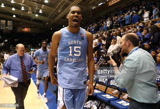 Garrison Brooks of the North Carolina Tar Heels reacts after they defeated the Duke Blue Devils 8872 in their game at Cameron Indoor Stadium on...