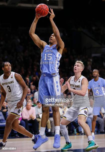 Garrison Brooks of the North Carolina Tar Heels shoots the ball against the Notre Dame Fighting Irish at Purcell Pavilion on January 13 2018 in South...