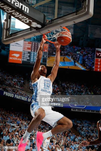 Garrison Brooks of the North Carolina Tar Heels slam dunks the ball during a game against the Virginia Tech Hokies on January 21 2019 at the Dean...