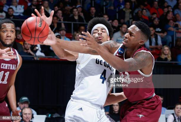 Garrison Goode of the UC Davis Aggies battles for the ball with Ron Trapps of the North Carolina Central Eagles in the second half during the First...