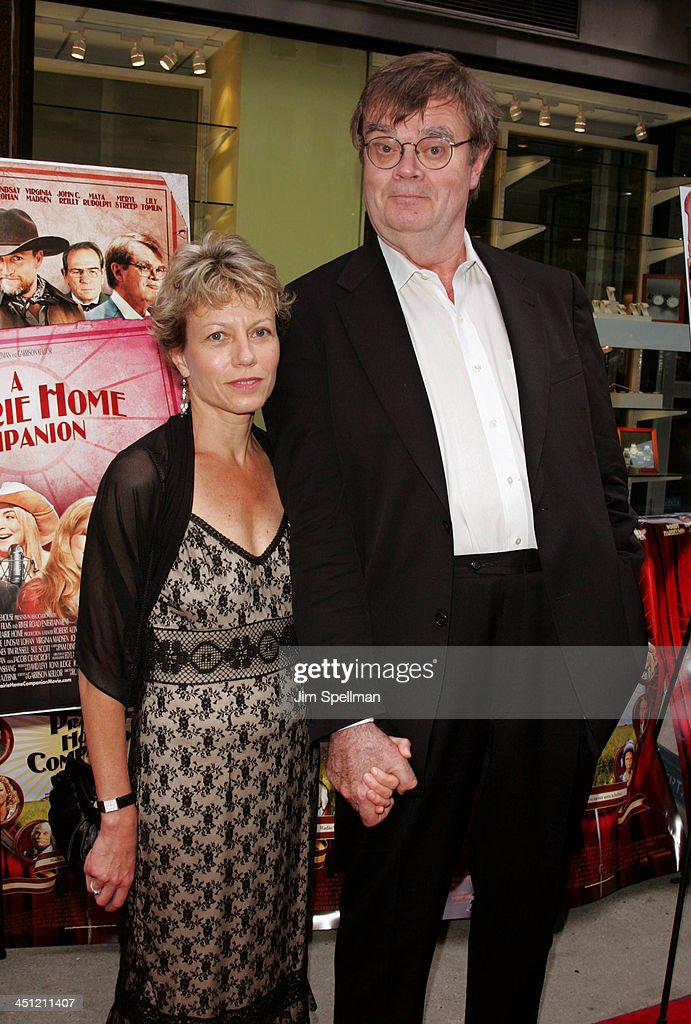 Garrison Keillor (right) and wife during A Prairie Home Companion - New York Premiere - Outside Arrivals at DGA Theater in New York City, New York, United States.