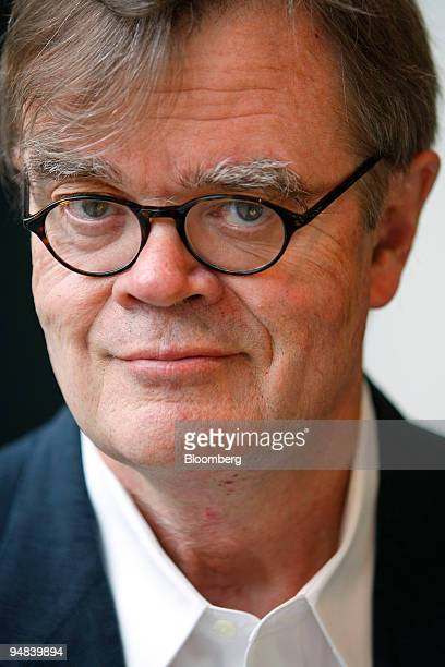 Garrison Keillor author humorist and radio personality poses for a portrait in New York US on Tuesday Sept 30 2008 Keillor's latest novel of Lake...