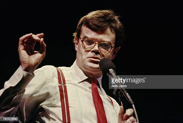 Garrison Keillor delivers his 'News from Lake Wobegon' monologue during his PRAIRIE HOME COMPANION live radio show at the Fitzgerald Theater on March...