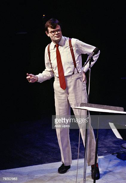 Garrison Keillor performing during his PRAIRIE HOME COMPANION live radio show at the Fitzgerald Theater on March 8 1986 in St Paul Minnesota