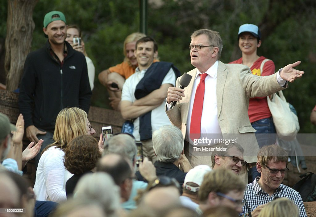 Garrison Keillor performs during 'A Prairie Home Companion' - America The Beautiful tour at Red Rocks Amphitheatre on August 23, 2015 in Morrison, Colorado.
