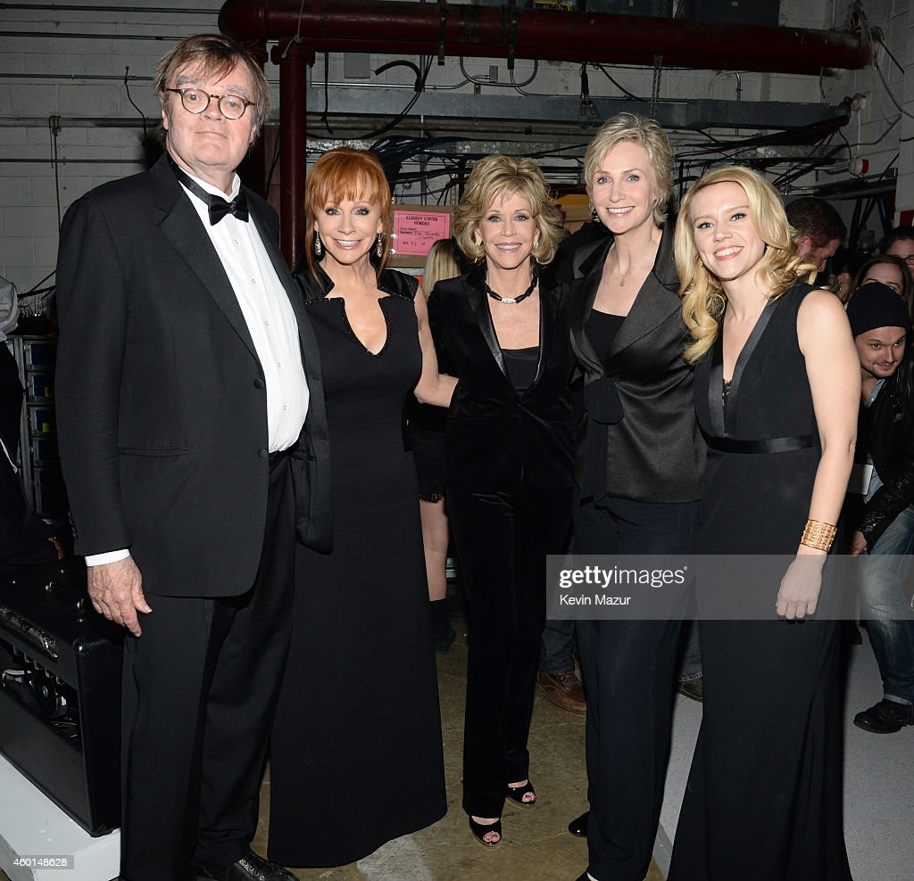 Garrison Keillor, Reba McEntire, Jane Fonda, Jane Lynch and Kate McKinnon attend the 37th Annual Kennedy Center Honors at The John F. Kennedy Center for Performing Arts on December 7, 2014 in Washington, DC.