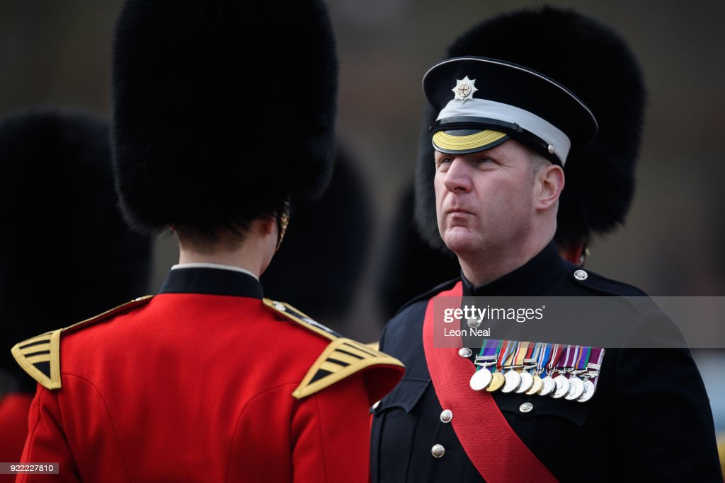Garrison Sergeant Major WO1 Andrew Stokes inspects a Coldstream Guard soldier's uniform as they they take part in the annual Major General's Inspection at Victoria barracks on February 21, 2018 in Windsor, England. The inspection gives the Major General his first chance to check the presentation, uniforms and drill of the battalion, ahead of it's involvement in the Trooping the Colour Parade in London.