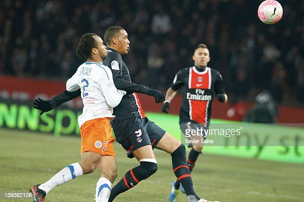 Garry Bocaly of Montpellier Herault and Guillaume Hoarau of Paris Saint Germain during the French Ligue 1 between Paris Saint Germain and Montpellier...