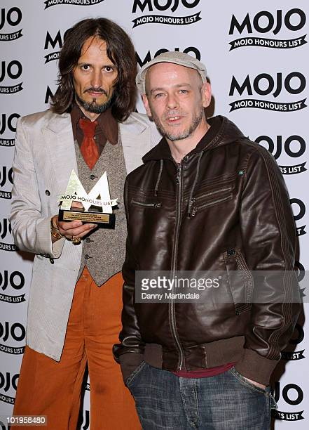 Garry Cobain and Brian Dougans of Amorphous Androgynous with award at The Mojo Honours List at The Brewery on June 10, 2010 in London, England.