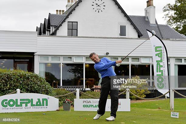 Garry Forrester of St Andrews Golf school on the first tee during the Golfplan Insurance PGA ProCaptain Challenge Scotland Regional Qualifier at...