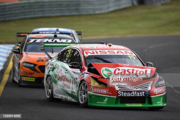 Garry Jacobsen drives the Nissan Motorsport Nissan Altima during qualifying race for grid 1 for the Supercars Sandown 500 at Sandown International...