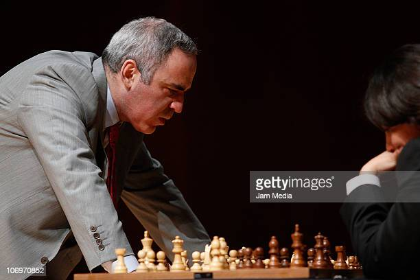 Garry Kasparov plays during the First Gran International Chess Festival 2010 UNAM at Nezahualcoyotl Auditorium on November 18 2010 in Mexico City...