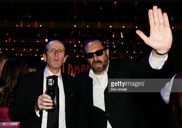 Garry McDonald and Austen Tayshus attends the after party for the 2008 Helpmann Awards at Star City's Lyric Theatre on July 28, 2008 in Sydney,...