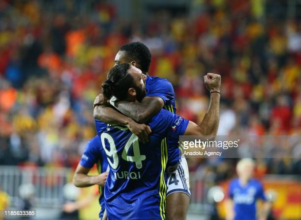 Garry Mendes Rodrigues celebrates with Vedat Muriqi of Fenerbahce after scoring a goal during the Turkish Super Lig soccer match between Goztepe and...