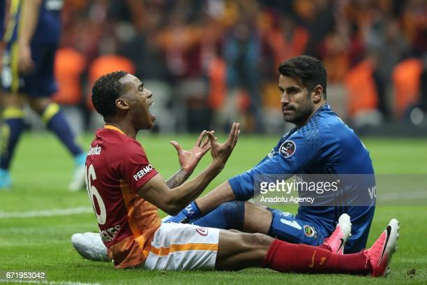 Garry Mendes Rodrigues of Galatasaray reacts during the Turkish Spor Toto Super Lig football match between Galatasaray and Fenerbahce at Turk Telekom...