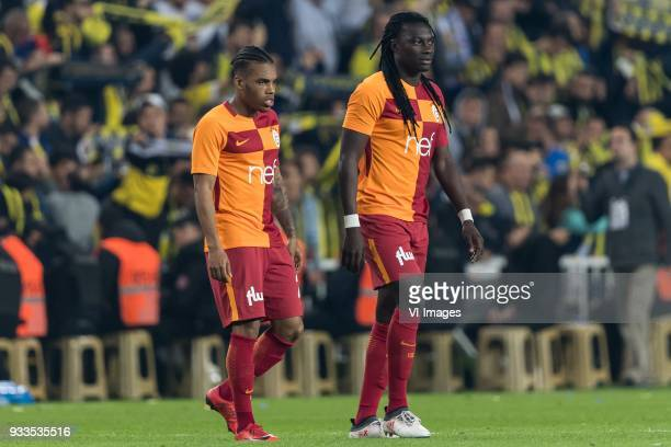 Garry Mendes Rodrigues of Galatasaray SK Bafetimbi Gomis of Galatasaray SK during the Turkish Spor Toto Super Lig match Fenerbahce AS and Galatasaray...