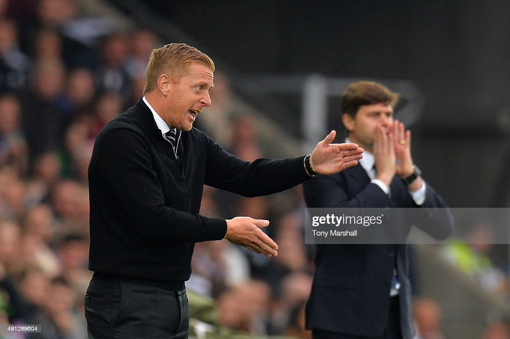 Garry Monk manager of Swansea City gives direction during the Barclays Premier League match between Swansea City and Tottenham Hotspur at Liberty Stadium on October 4, 2015 in Swansea, Wales.