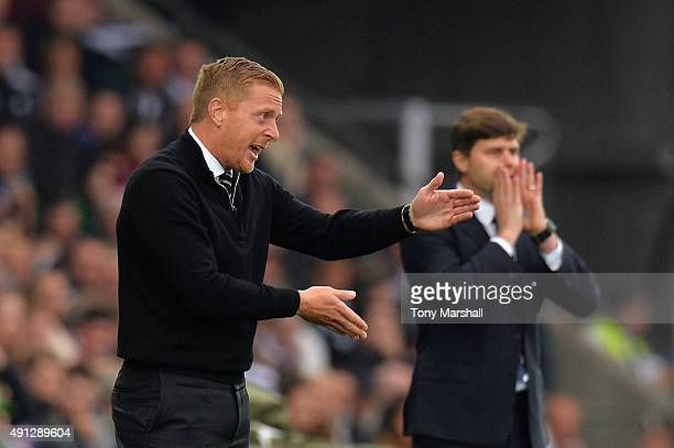 Garry Monk manager of Swansea City gives direction during the Barclays Premier League match between Swansea City and Tottenham Hotspur at Liberty...