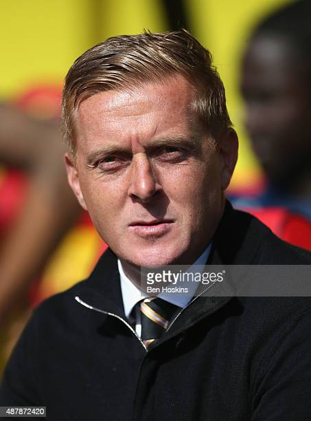 Garry Monk manager of Swansea City looks on during the Barclays Premier League match between Watford and Swansea City at Vicarage Road on September...