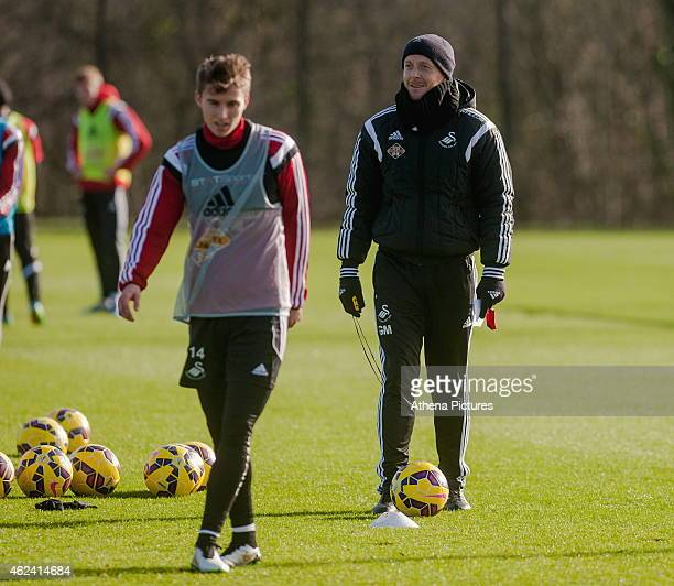 Garry Monk Manager of Swansea City looks on during training on January 28 2015 in Swansea Wales