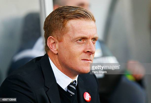 Garry Monk manager of Swansea City looks on prior to the Barclays Premier League match between Swansea City and Crystal Palace at Liberty Stadium on...