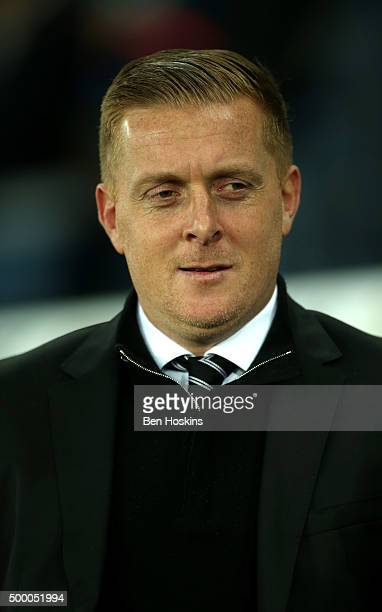 Garry Monk Manager of Swansea City looks on prior to the Barclays Premier League match between Swansea City and Leicester City at Liberty Stadium on...