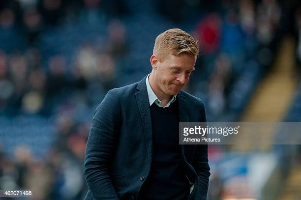 Garry Monk Manager of Swansea City looks unhappy during the FA Cup Fourth Round match between Blackburn Rovers and Swansea City at Ewood park on...