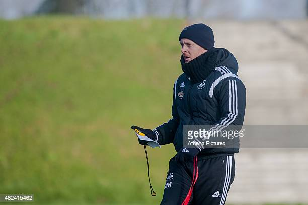 Garry Monk manager of Swansea City watches his players during training on January 28 2015 in Swansea Wales