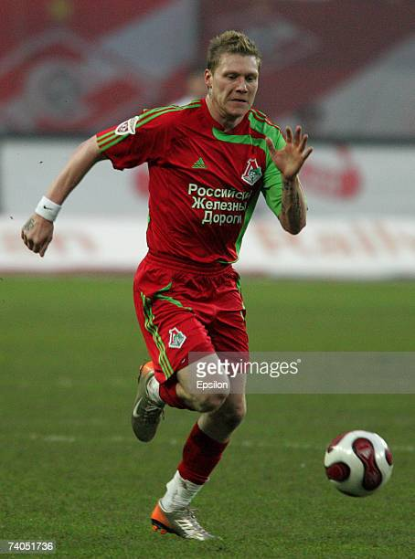 Garry O'Connor of FC Lokomotiv Moscow in action during the Russian Cup Semi Final match between FC Lokomotiv and FC Spartak on May 02 2007 in Moscow...