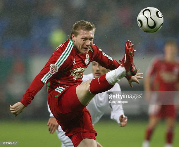Garry O'Connor of Lokomotiv Moscow in action during the Football Russian League Championship match between Lokomotiv Moscow and Torpedo Moscow on...