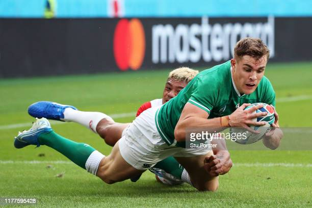 Garry Ringrose of Ireland dives to score his side's first try during the Rugby World Cup 2019 Group A game between Japan and Ireland at Shizuoka...