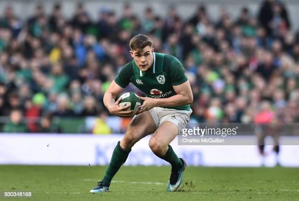 Garry Ringrose of Ireland during the Ireland v Scotland Six Nations rugby championship game at Aviva Stadium on March 10 2018 in Dublin Ireland