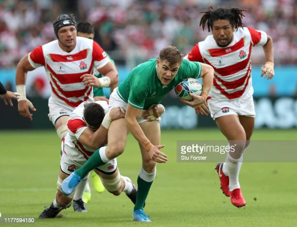 Garry Ringrose of Ireland is tackled during the Rugby World Cup 2019 Group A game between Japan and Ireland at Shizuoka Stadium Ecopa on September...