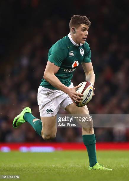Garry Ringrose of Ireland runs with the ball during the Six Nations match between Wales and Ireland at the Principality Stadium on March 10 2017 in...
