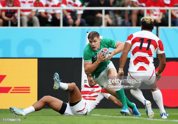 Garry Ringrose of Ireland runs with the ball to score his side's first try during the Rugby World Cup 2019 Group A game between Japan and Ireland at...
