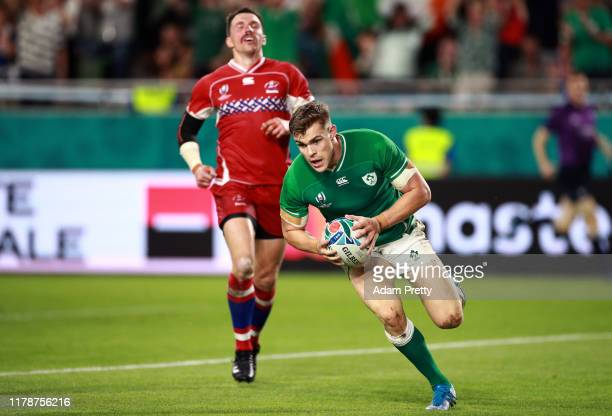 Garry Ringrose of Ireland scores his team's fifth try during the Rugby World Cup 2019 Group A game between Ireland and Russia at Kobe Misaki Stadium...